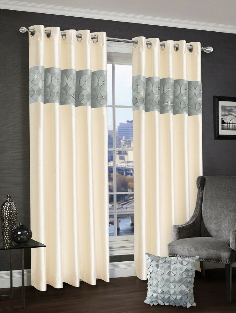 3D DIAMANTE RINGTOP EYELET LINED CURTAINS FAUX SILK SILVER & CREAM